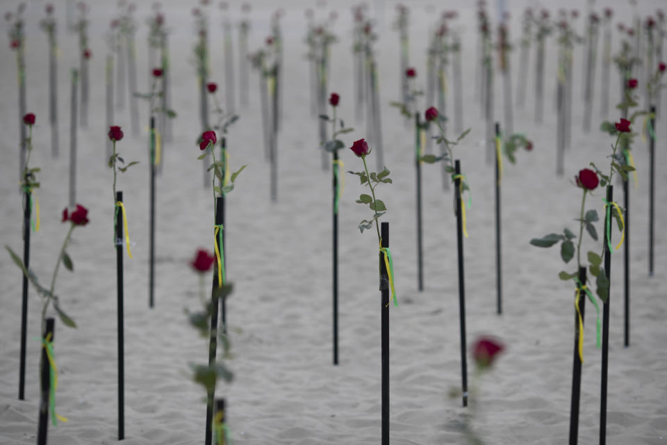 Roses placed in the sand on Copacabana beach honor 500,000 deaths due to coronavirus, during a protest against Brazilian President Jair Bolsonaro and his handling of the COVID-19 pandemic, in Rio de Janeiro, Brazil, Sunday, June 20, 2021. Brazil's COVID-19 death toll surpassed the milestone of 500,000 deaths on Saturday night. (AP Photo/Silvia Izquierdo)