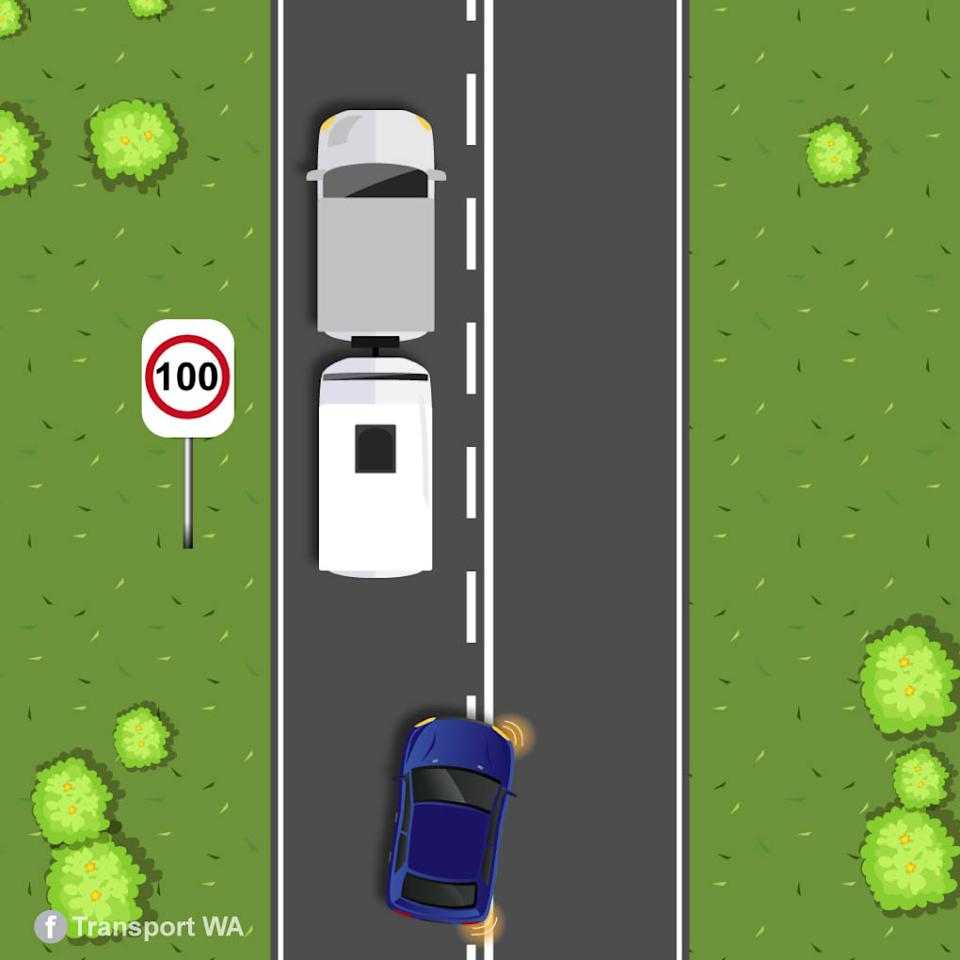 A graphic from Transport WA showing a blue car about to overtake a car towing a a caravan with a 100km speed sign on the left.