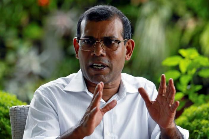Maldives' former president Nasheed speaks during an interview with Reuters in Colombo