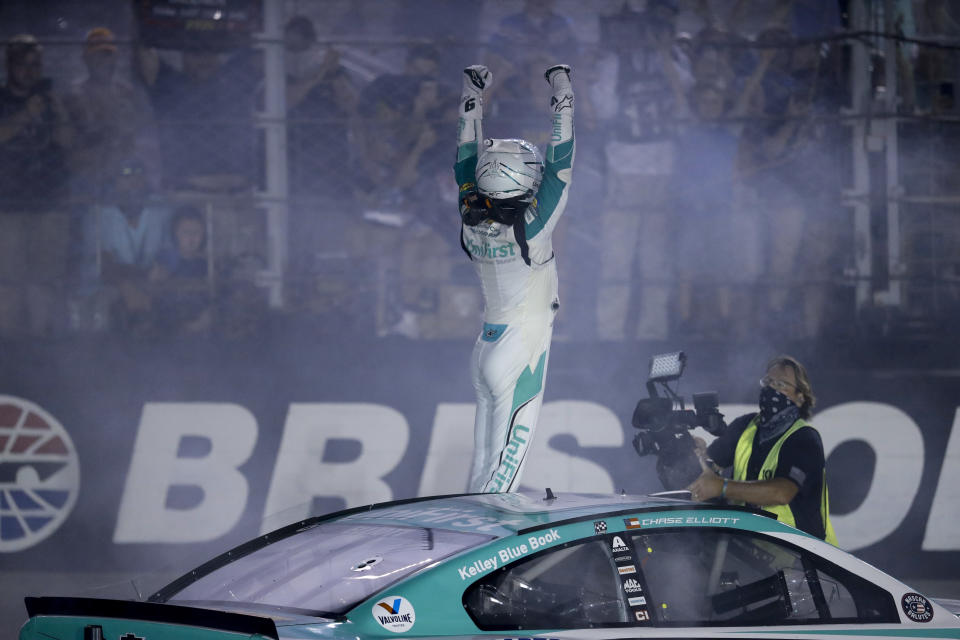 Chase Elliott celebrates after winning a NASCAR All-Star auto race at Bristol Motor Speedway in Bristol, Tenn, Wednesday, July 15, 2020. (AP Photo/Mark Humphrey)