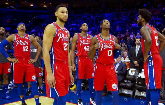 """The <a class=""""link rapid-noclick-resp"""" href=""""/nba/teams/philadelphia/"""" data-ylk=""""slk:76ers"""">76ers</a> are looking up in the Eastern Conference standings. (Mitchell Leff/Getty Images)"""