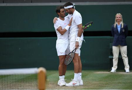 Tennis - Wimbledon - All England Lawn Tennis and Croquet Club, London, Britain - July 11, 2018 Spain's Rafael Nadal celebrates winning his quarter final match against Argentina's Juan Martin Del Potro REUTERS/Tony O'Brien