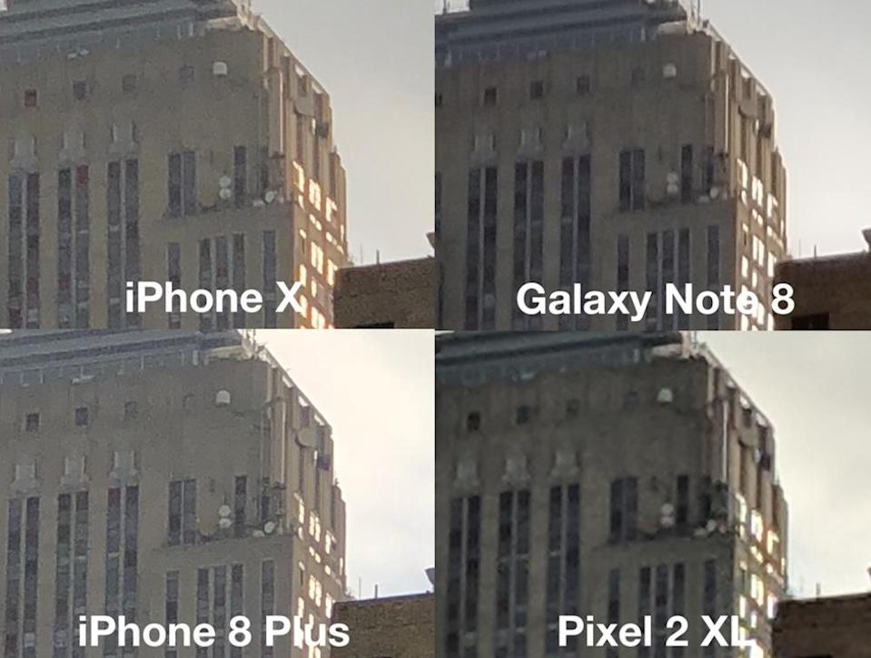 The iPhone X retained details in this shot, as well as the color of the sun shining on the building's windows.