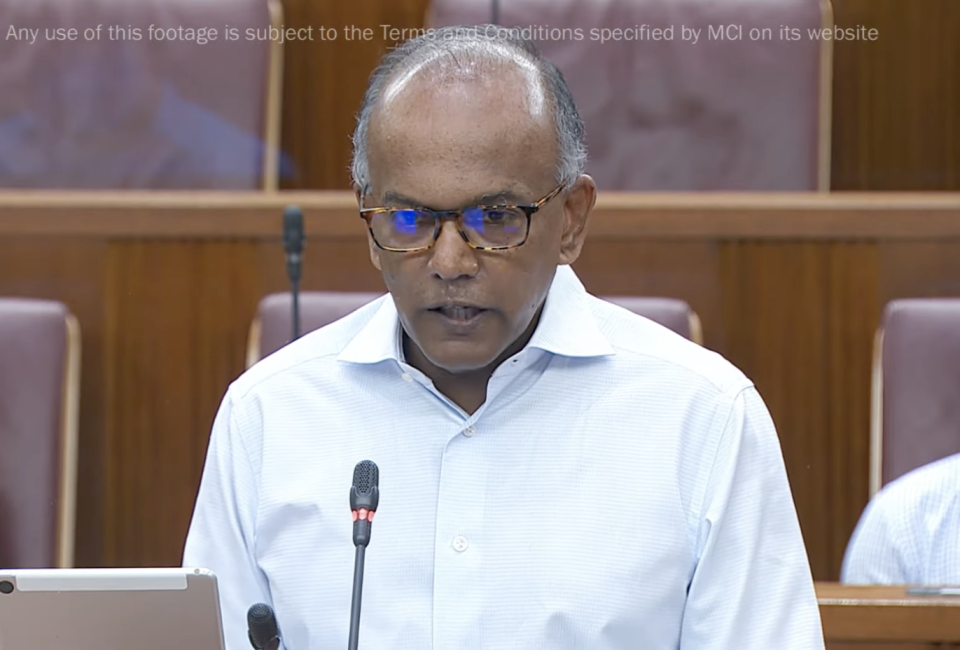 Law and Home Affairs Minister K Shanmugam. (SCREENSHOT: Ministry of Communications and Information/YouTube)