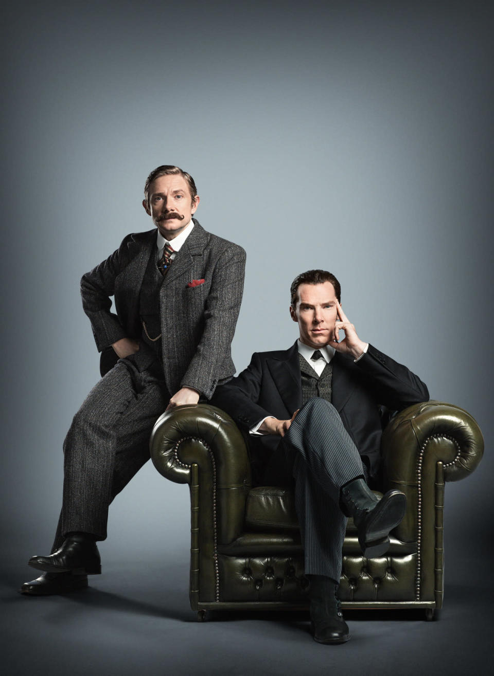 <p>This was the first image released of Freeman and Cumberbatch in period garb for the special. </p>