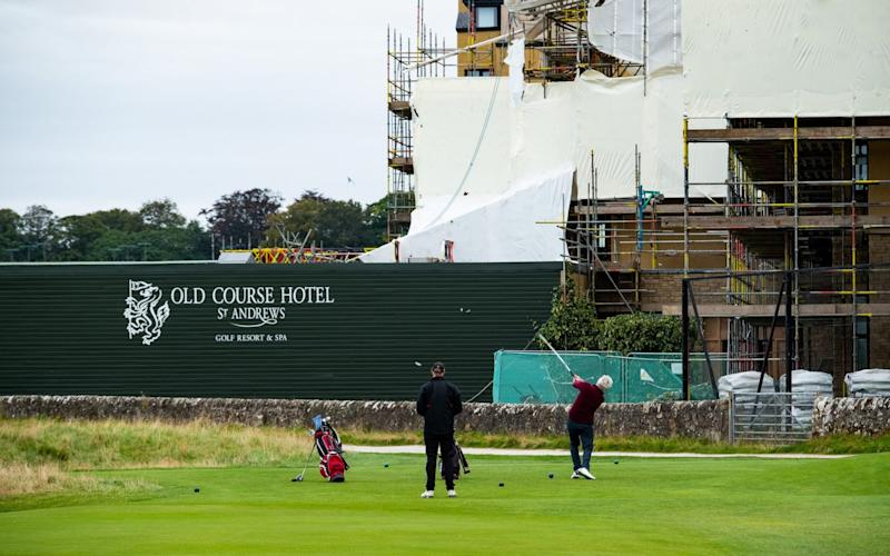 Scaffolding at the five-star Old Course Hotel has added to golfers' headache - Stuart Nicol/Stuart Nicol photography