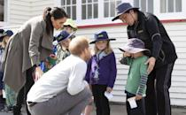 <p>The royal couple put on a team effort to try and coax a smile out of a five-year-old boy who, bless him, looked a tad upset at a cafe in Wellington. Meghan later asked the cafe staff to bring out some of the uneaten cakes made for their visit to the children so here's hoping that helped.</p>