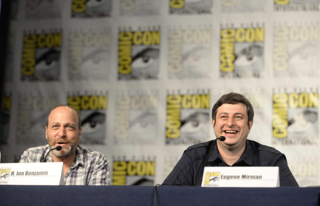 "H. Jon Benjamin and Eugene Mirman talk to fans during the ""Bob's Burgers"" panel on Friday, July 19 during Fox Fanfare At San Diego Comic-Con 2013."