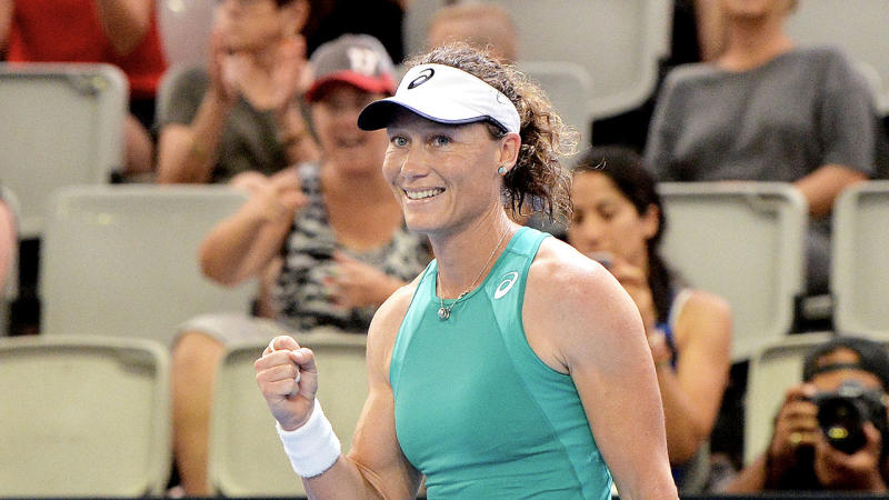 Samantha Stosur celebrates victory in her match against Angelique Kerber at the 2020 Brisbane International at Pat Rafter Arena on January 06, 2020 in Brisbane, Australia. (Photo by Bradley Kanaris/Getty Images)