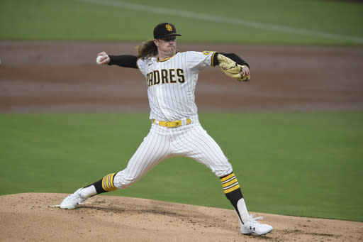 San Diego Padres starting pitcher Chris Paddack delivers during the first inning of a baseball game against the Seattle Mariners, Friday, Sept. 18, 2020, in San Diego. (AP Photo/Denis Poroy)