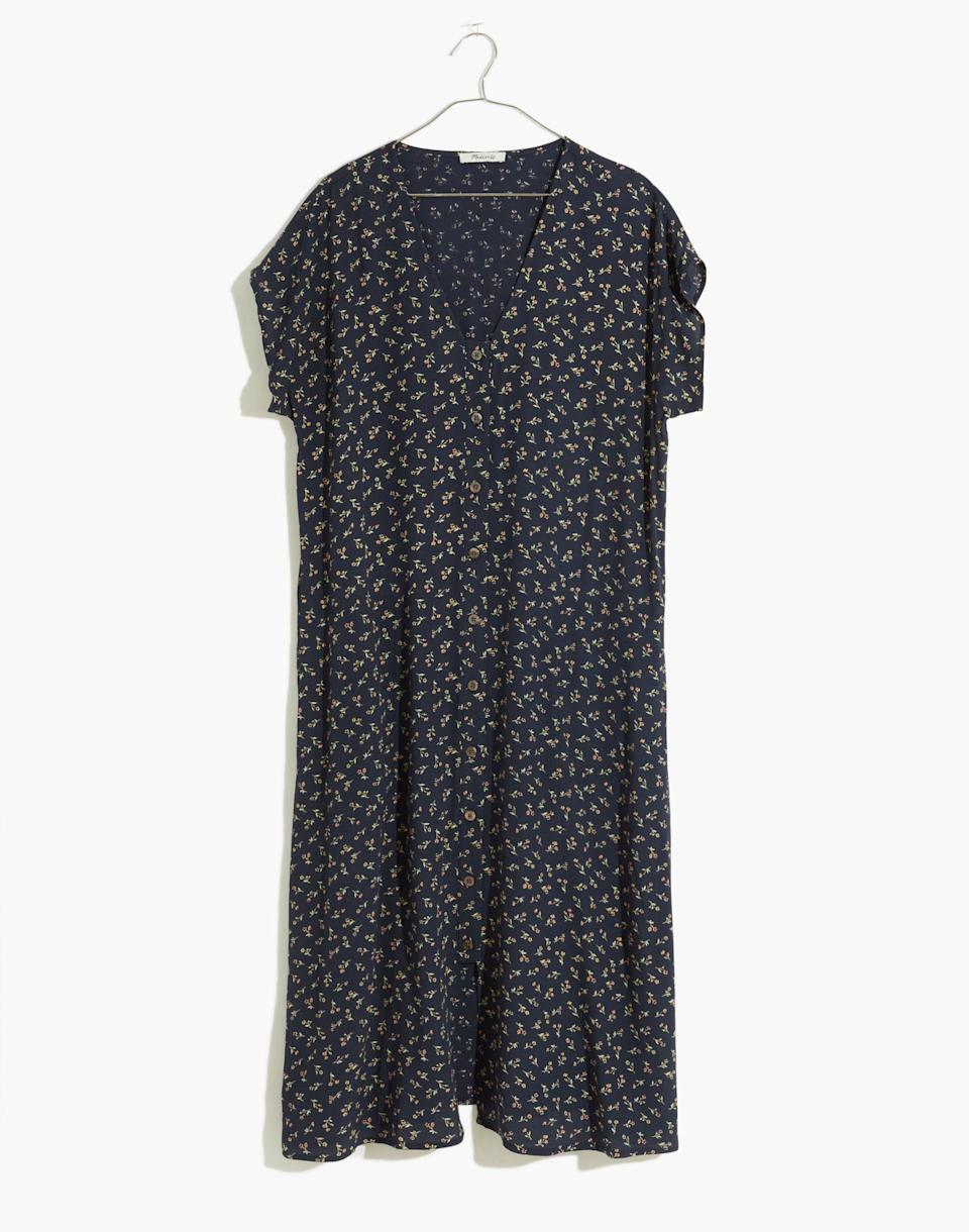 """<p><strong>Madewell</strong></p><p>madewell.com</p><p><a href=""""https://go.redirectingat.com?id=74968X1596630&url=https%3A%2F%2Fwww.madewell.com%2Feasy-midi-dress-in-spring-fling-MC944.html&sref=https%3A%2F%2Fwww.cosmopolitan.com%2Fstyle-beauty%2Ffashion%2Fg36065935%2Fmadewell-spring-sale-2021%2F"""" rel=""""nofollow noopener"""" target=""""_blank"""" data-ylk=""""slk:SHOP NOW"""" class=""""link rapid-noclick-resp"""">SHOP NOW</a></p><p><strong><del>$128</del> $90 (30% off</strong><strong>)</strong><br></p><p>The boxy fit! The vintage florals! Here, an easy-to-wear dress that'll be a saving grace on warm-weather days when you have no idea what to wear. </p>"""