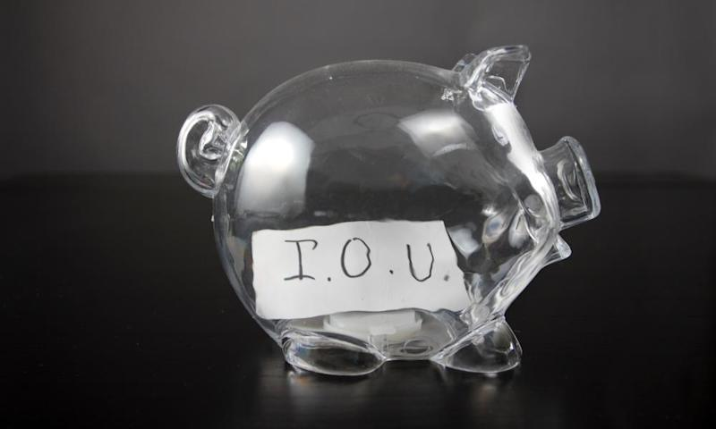 Piggy bank with IOU