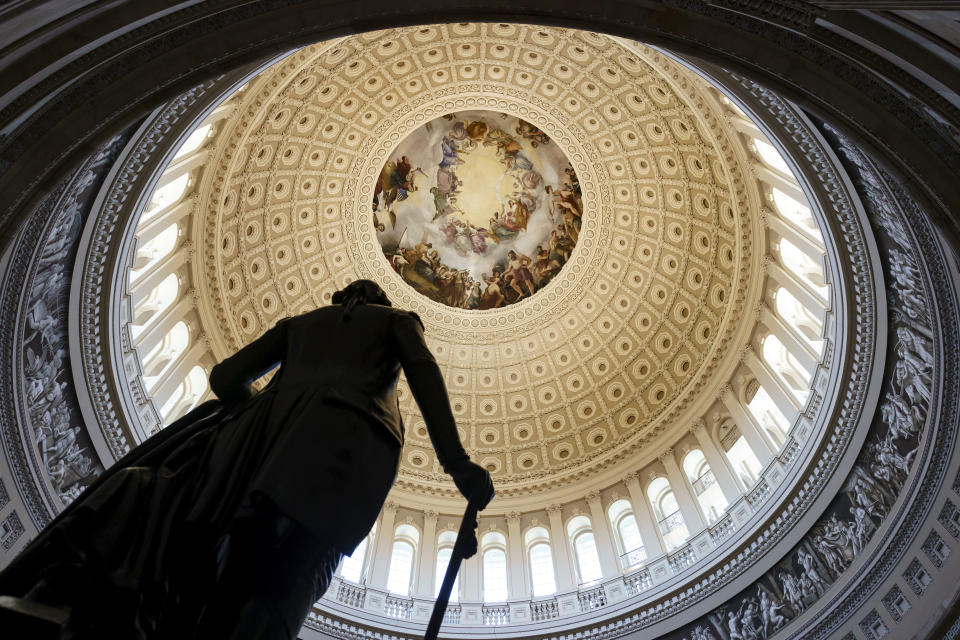 """The Rotunda of the U.S. Capitol is seen as a consequential week begins for President Joe Biden's agenda and Democratic leaders in Congress who are trying to advance his $3.5 trillion """"Build Back Better"""" package and pass legislation to avoid a federal shutdown, in Washington, Monday, Sept. 27, 2021. (AP Photo/J. Scott Applewhite)"""