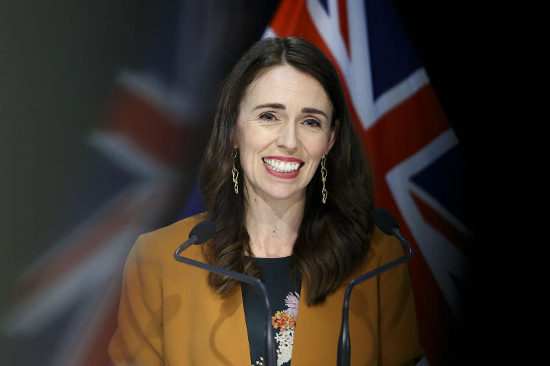 WELLINGTON, NEW ZEALAND - JUNE 08: Prime Minister Jacinda Ardern speaks to media during a post cabinet press conference at Parliament on June 08, 2020 in Wellington, New Zealand. Prime Minister Jacinda Ardern announced that New Zealand will move to COVID-19 Alert Level 1 at midnight on June 8. Alert Level 1 will see people return to work, school, sports events and domestic travel without restrictions. There will also no longer be any restrictions on numbers at mass gatherings. Controls at the borders will remain in place for all people entering New Zealand, including health screening and testing for all arrivals, and mandatory 14-day managed quarantine or isolation. There are no longer any active cases of COVID-19 in New Zealand. (Photo by Hagen Hopkins/Getty Images)