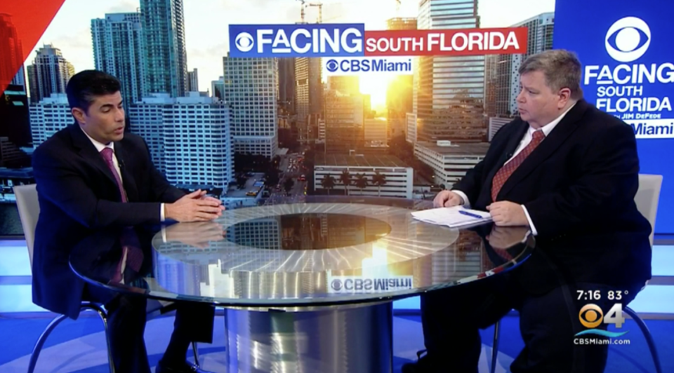 """Florida House Speaker Jose Oliva, left, talks with CBS Miami's Jim DeFede about abortion and repeatedly refers to pregnant women as """"host bodies."""" (Photo: CBS Miami)"""