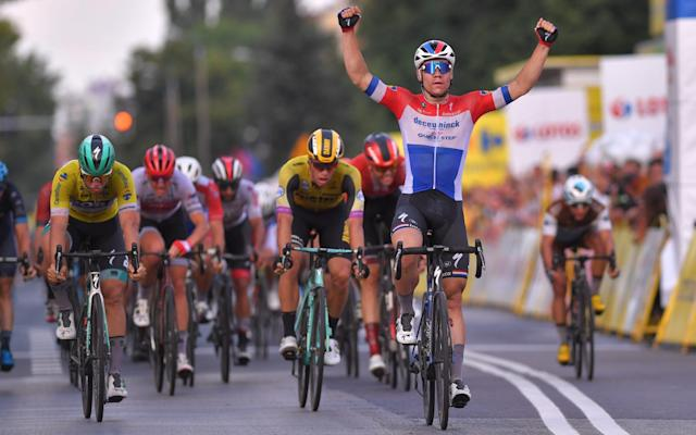 Fabio Jakobsen crossed the line first but was relegated at the Tour of Poland - Velo