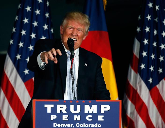 <p>Donald Trump speaks during a campaign rally, at the Wings Over the Rockies Air & Space Museum, in Denver, Friday, July 29, 2016. (AP Photo/Brennan Linsley) </p>