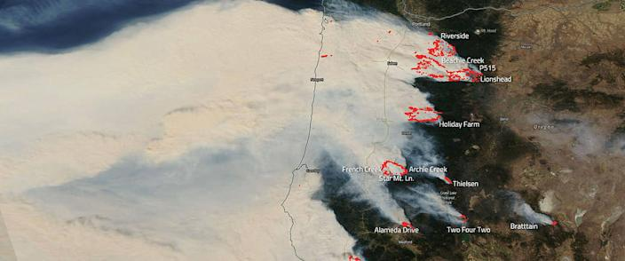 NASA's Aqua Satellite captures devastating wildfires in Oregon on Sept. 10, 2020. (NASA)