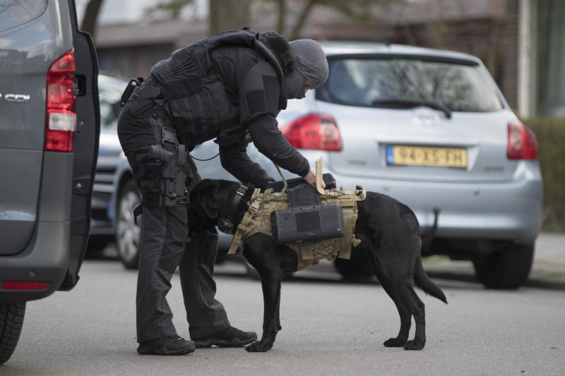 Dutch counter terrorism police install a camera on a sniffer dog as they prepare to enter a house after a shooting incident in Utrecht, Netherlands, on Monday. (ASSOCIATED PRESS)