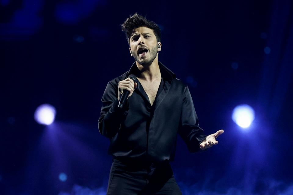 Spain's Blas Canto performs during the final of the 65th edition of the Eurovision Song Contest 2021, at the Ahoy convention centre in Rotterdam, on May 22, 2021. (Photo by KENZO TRIBOUILLARD / AFP) (Photo by KENZO TRIBOUILLARD/AFP via Getty Images)