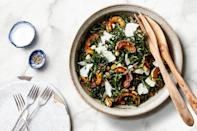 """This salad celebrates the colors and flavors of fall, adding a hint of sweet raisins to contrast the slightly bitter kale greens. <a href=""""https://www.epicurious.com/recipes/food/views/autumn-kale-salad-gefilte-manifesto-recipe?mbid=synd_yahoo_rss"""" rel=""""nofollow noopener"""" target=""""_blank"""" data-ylk=""""slk:See recipe."""" class=""""link rapid-noclick-resp"""">See recipe.</a>"""