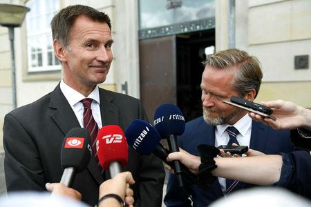 British Foreign Minister Jeremy Hunt and Danish Foreign Minister Anders Samuelsen address the media after their meeting in Copenhagen