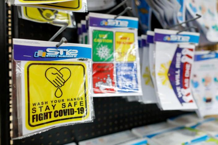Stickers of health reminders on sale amid coronavirus outbreak