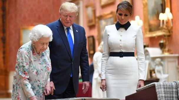 PHOTO: Queen Elizabeth views a display of US items of the Royal collection with President Donald Trump and US First Lady Melania Trump at Buckingham palace in London, June 3, 2019. (Mandel Ngan/AFP/Getty Images)