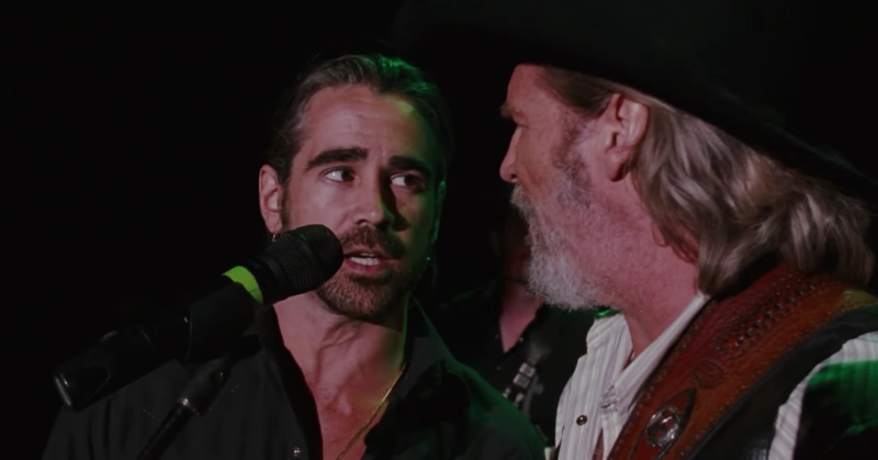 Colin Farrell and Jeff Bridges duetting on 'Fallin' and Flyin'' in 2009's 'Crazy Heart' - Credit: 20th Century Fox
