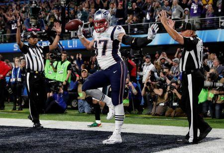 NFL Football - Philadelphia Eagles v New England Patriots - Super Bowl LII - U.S. Bank Stadium, Minneapolis, Minnesota, U.S. - February 4, 2018 New England Patriots' Rob Gronkowski celebrates scoring a touchdown REUTERS/Kevin Lamarque