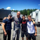 """<p>Holland's pal Harrison Osterfield (far right) shared this pic on Instagram of himself and Holland with <i>Guardians</i> stars Michael Rooker (Yondu) and Dave Bautista (Drax) as the two films shared studio space on June 20.<i> (<a href=""""https://www.instagram.com/p/BG3u2imsoFt/"""" rel=""""nofollow noopener"""" target=""""_blank"""" data-ylk=""""slk:Harrison Osterfield/Instagram"""" class=""""link rapid-noclick-resp"""">Harrison Osterfield/Instagram</a>)</i></p>"""