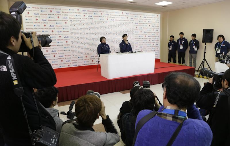 Yuzuru Hanyu of Japan answers a question during a news conference at the Japan House at the 2014 Winter Olympics, Saturday, Feb. 15, 2014, in Sochi, Russia. Hanyu won the gold medal in the men's free skate figure skating final. (AP Photo/Morry Gash)