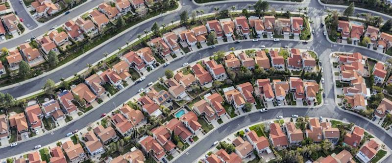 Aerial view of tightly packed homes in the Porter Ranch neighborhood of Los Angeles, California.