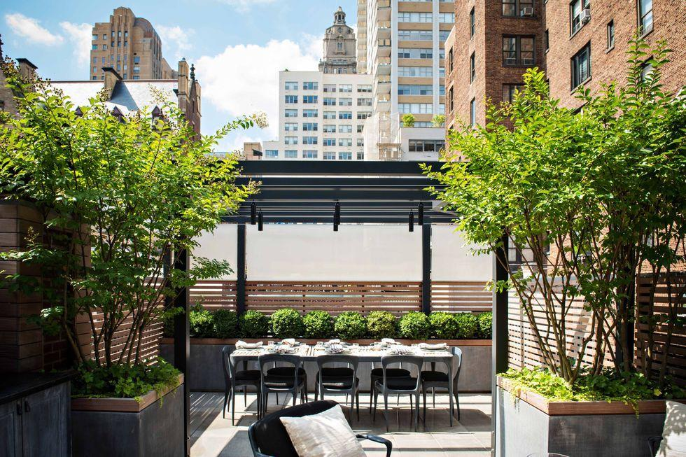<p>The outdoor area is fit for entertaining, with its views of New York City landmarks and a dining space for up to eight people. Luxury apartment buildings, including The Dakota and The San Remo, are visible from the terrace.</p>