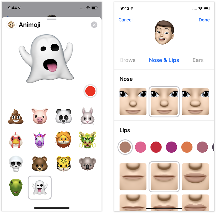 Animoji can now include a ghost, T-rex, koala, tiger (left)—or even an animated cartoon YOU (right) with a little bulb nose.