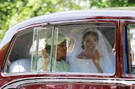 <p>Meghan Markle travelled to Windsor Castle with her mother Doria in a vintage Rolls Royce Phantom. (Getty) </p>