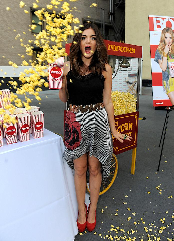 """<p><span style=""""font-size:11.0pt;"""">""""Pretty Little Liars"""" star Lucy Hale got caught in a popcorn storm on Tuesday when the 23-year-old attended a screening of her show at Bongo's Drive-In Movie Night in Los Angeles where she signed autographs and watched the episode from a convertible Mini Cooper. (August 21)</span></p>"""