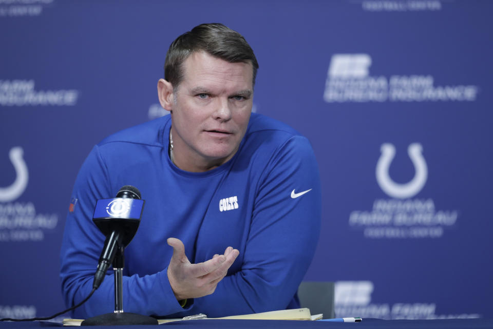 Chris Ballard's MO as Indianapolis Colts general manager has been to trade down when possible, and we expect that again in the 2021 NFL draft. (AP Photo/Darron Cummings)