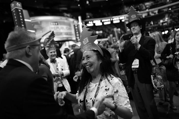 <p>Washington state delegates dance on the convention floor during the RNC Convention in Cleveland, OH on July 19, 2016. (Photo: Khue Bui for Yahoo News)</p>
