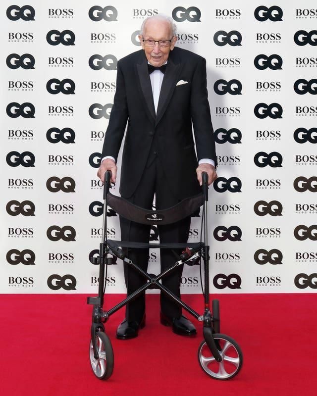 Captain Sir Tom Moore arriving for the GQ Men Of The Year awards