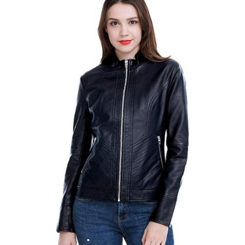 A soft, faux-leather jacket over a feminine top gives you that pretty-and-protected feel that adds up to confidence.(Photo: Amazon)