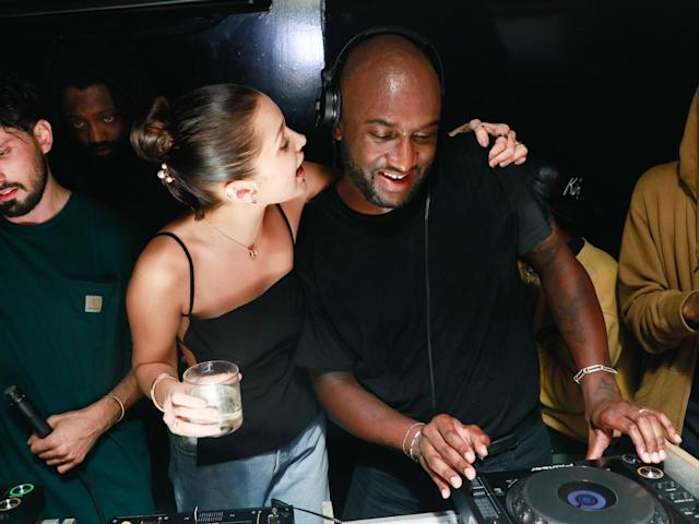 <p>Virgil Abloh, Bella Hadid, Tremaine Emory, and Pedro Cavaliere at the Schutz party in N.Y.C. (Photo: BFA) </p>