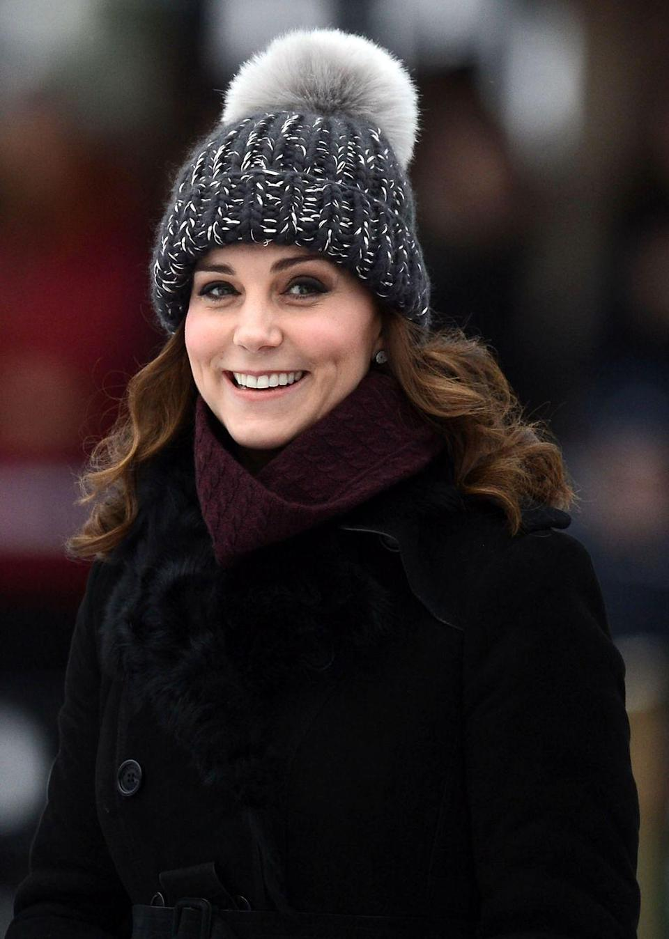 """<p>The Duchess of Cambridge found herself amid yet another fashion controversy when she bundled up in a <span class=""""redactor-unlink"""">Eugenia Kim hat</span> in Stockholm, Sweden, this February. The charcoal-knit beanie was reportedly <a href=""""https://www.glamour.com/story/kate-middleton-controversy-bobble-hat"""" rel=""""nofollow noopener"""" target=""""_blank"""" data-ylk=""""slk:made with real fox fur"""" class=""""link rapid-noclick-resp"""">made with real fox fur</a>, and the internet was outraged. PETA was back on Kate's heels, wanting proof that the fur was faux.</p><p>""""If the Duchess of Cambridge's hat is made with faux fur, PETA is delighted to see her take a leaf out of the Duchess of Cornwall's book—Camilla reportedly swapped all her fur hats for luxurious faux-fur ones,"""" <a href=""""https://www.mirror.co.uk/news/uk-news/kate-middleton-faux-fur-tour-11938751"""" rel=""""nofollow noopener"""" target=""""_blank"""" data-ylk=""""slk:said PETA director Elisa Allen"""" class=""""link rapid-noclick-resp"""">said PETA director Elisa Allen</a>.</p>"""
