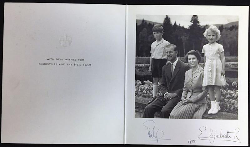 Prince Charles, Prince Philip, Queen Elizabeth and Princess Anne in 1955's Christmas card | Rowleys/BNPS