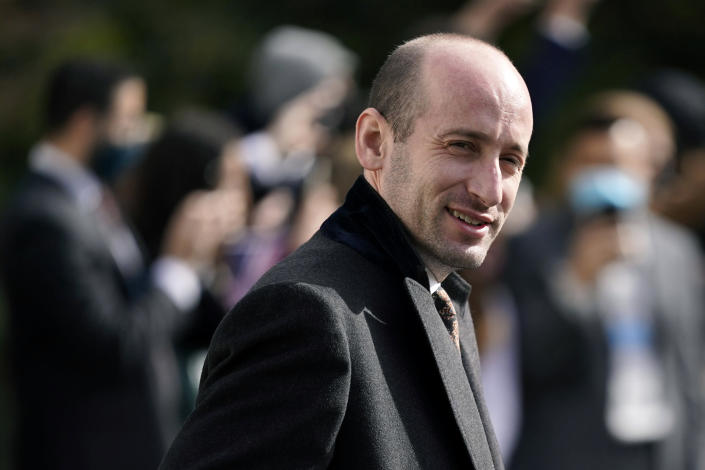 FILE - In this Oct. 30, 2020 file photo, President Donald Trump's White House Senior Adviser Stephen Miller follows President Donald Trump on the South Lawn of the White House in Washington. Alabama U.S. Rep. Mo Brooks, teasing the announcement of a possible run for U.S. Senate, has scheduled a campaign rally on Monday, March 22, 2021, where he will be joined by Miller. (AP Photo/Patrick Semansky, File)