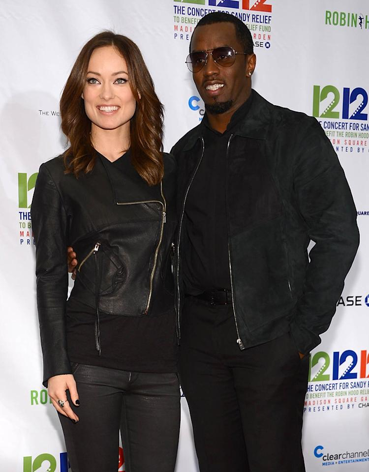"NEW YORK, NY - DECEMBER 12: Olivia Wilde and Sean John Combs attend ""12-12-12"" a concert benefiting The Robin Hood Relief Fund to aid the victims of Hurricane Sandy presented by Clear Channel Media & Entertainment, The Madison Square Garden Company and The Weinstein Company at Madison Square Garden on December 12, 2012 in New York City.  (Photo by Dimitrios Kambouris/Getty Images)"