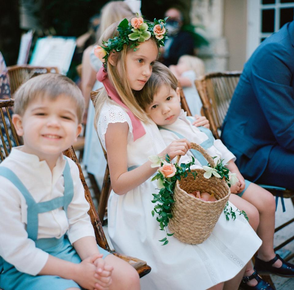 One of my flower girl nieces and two of my page boy nephews taking in the ceremony. The kids were such a special part of the weekend, and we wanted to make sure they could be a part of all of our events.