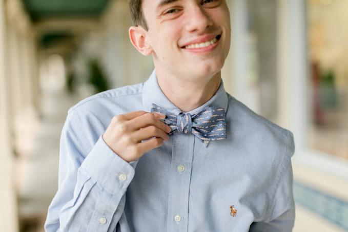 Will Howell wearing light blue WillPower bow tie