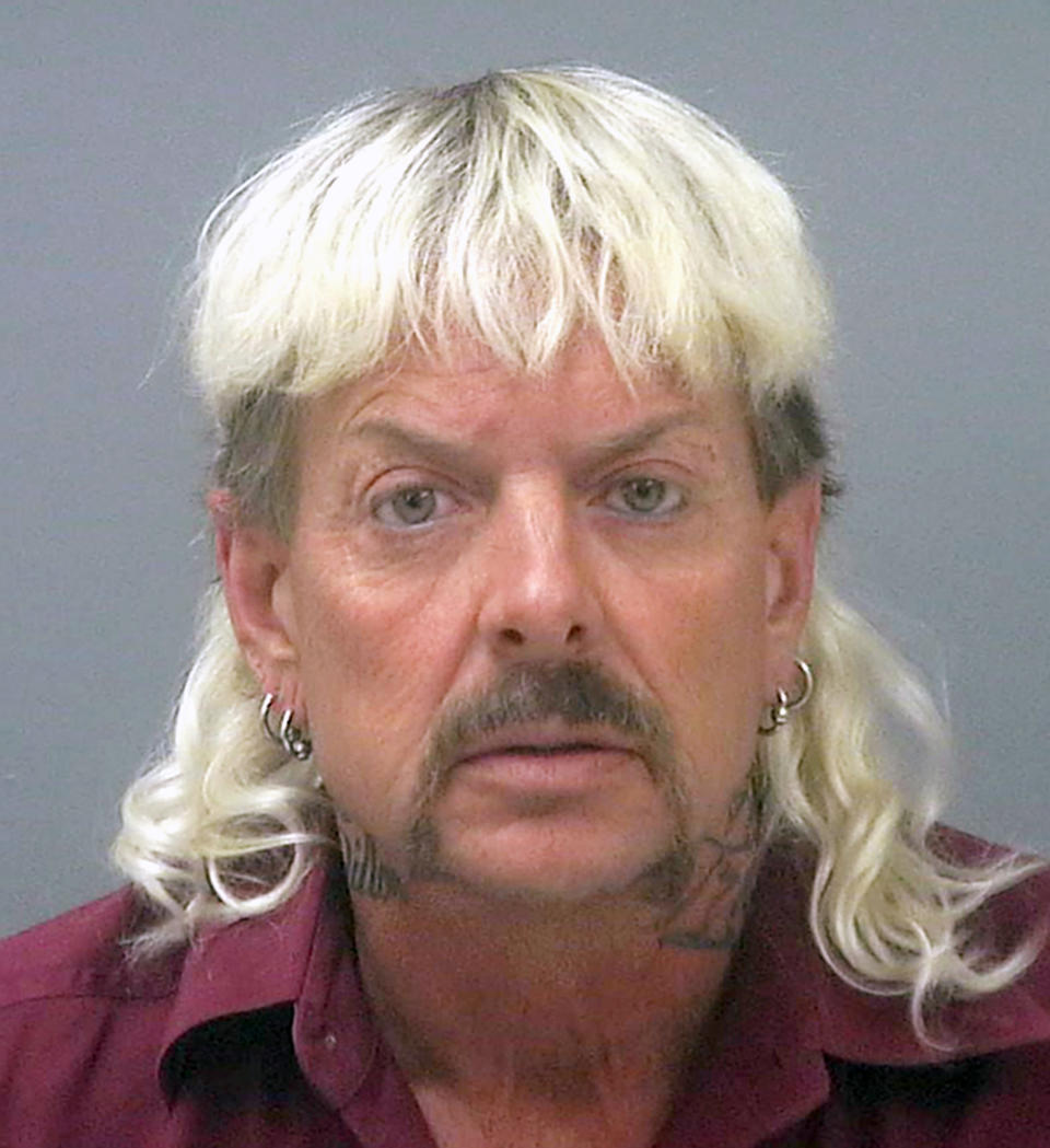 Joe Exotic, real name Joseph Maldonado-Passage, was convicted on federal murder-for-hire charges. (Santa Rosa County Jail via AP)