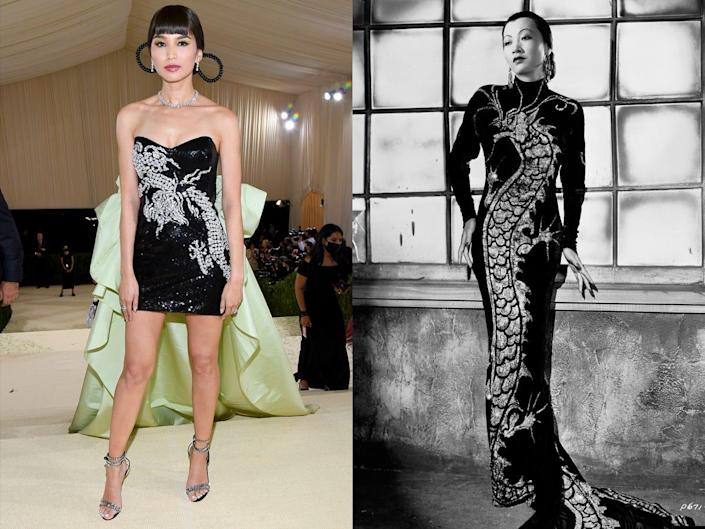 Gemma Chan at the 2021 Met Gala next to the dress she was inspired by